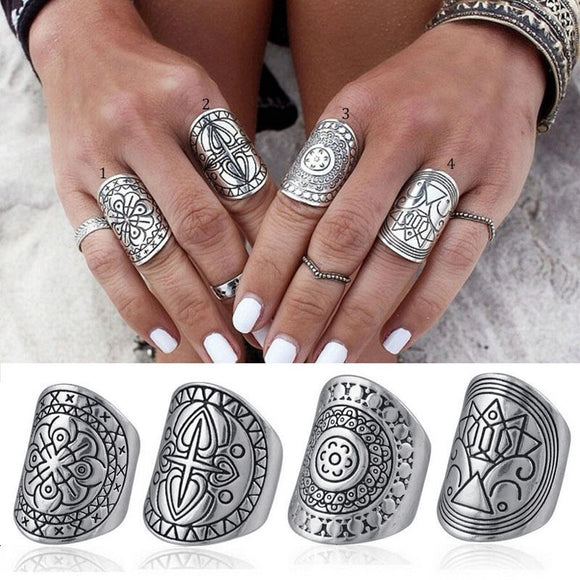 Women 4pcs Vintage Gypsy Boho Carved Totem Antique Silver Plated Midi Rings
