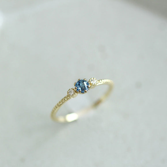 Women 18k Gold and Silver Imitation Sea Blue Sapphire Sample Rings Engagement Wedding Party Courtship Ring Jewelry