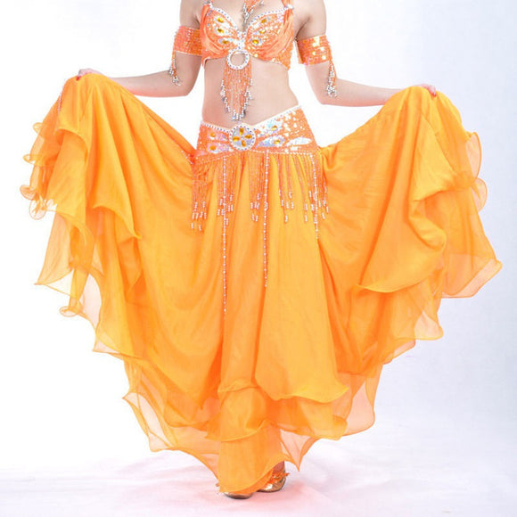 Women's Three Layers Chiffon Dancing Skirt Belly Dance Costume Skirts 9 Colours