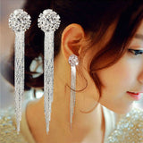 Rhinestone Earrings long exaggerated temperament round Tassel Earrings