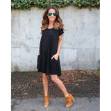 Women Summer Fashion V Neck Basic Short Sleeve Pocket T-Shirt Dress Women Casual Loose A-line Ruffles Beach Dress