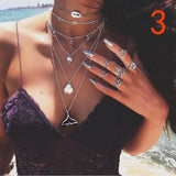 Punk Boho Retro Alloy Palm Sun Twelve Constellation Disc Multilayer Necklace Leaf Brown Pendant Fashion Jewelry Gift RWL