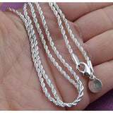 Fashion Silver 3mm 16-24inch Hemp Rope Chain Necklace Italy Chains With Lobster Clasps Link for Charms Pendant Part
