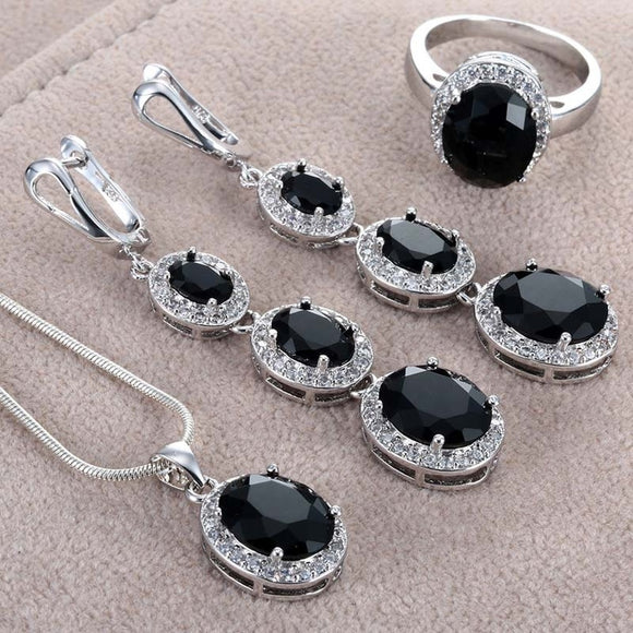 Luxury Sterling Silver Black Imitation Sapphire Ring Earrings Necklace Jewelry Set 24