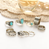 Creative 10PCS/Set Simple Vintage Metal Turquoise Geometric Ring Fashion Ladies Princess Girl Popular Alloy Goldplated Silver Ri