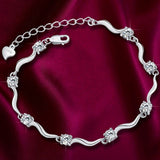 Fashion Jewelry Ladies Silver Charm Crystal Bamboo Chain Bracelet