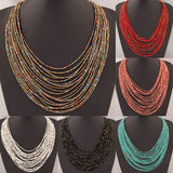 Fashion Women Bohemian Jewelry Multi-Layer Seed Bead String Necklace