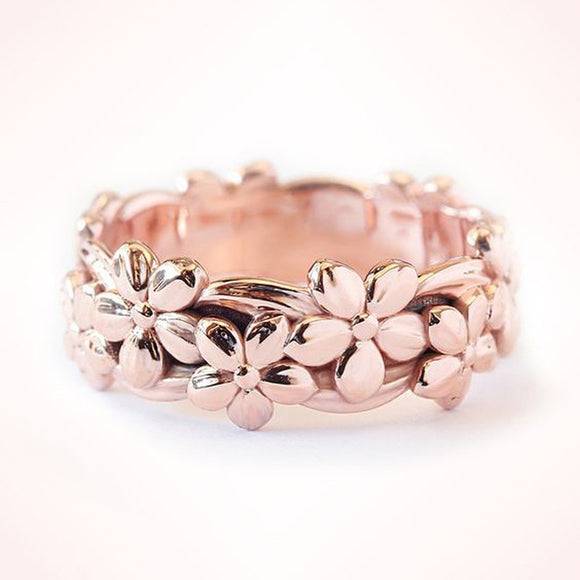 Rose Gold Floral Ring Lucky Daisy Plum Blossom Cherry Flower Jewelry Anniversary Proposal Gift Party Infinity