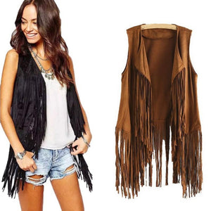 New Fashion Women Autumn Winter Faux Suede Ethnic Sleeveless Tassels Fringed Vest Cardigan