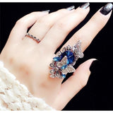 Fashion jewelry Retro Synthetic sapphire & Amethyst inlay Butterfly ring (two - piece)Size: 5.5-9