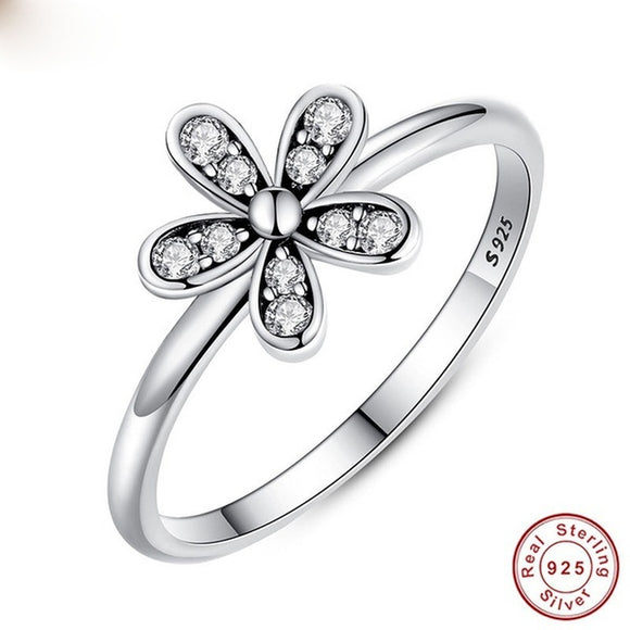 Trendy Women's Silver Floral Rings Classy Diamond Lucky Flowers Shape Eternity Rings Wedding Bands Promise