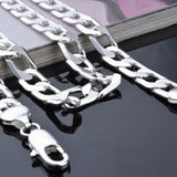 8mm Silver Flat Figaro Curb Chains Necklace Italy Chains Charms Pendant Fine Jewelry 16-24inch - The Rogue's Clothes