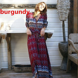 2017 Women Hot Style Bohemia Printing Dress Long Beach Dress - The Rogue's Clothes