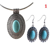 Fashion Charm Tibetan Silver Turquoise Oval Pendant Earrings Necklace Jewelry Set