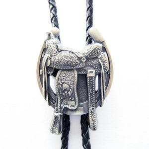 New Vintage Style Silver Plated Western Saddle Horseshoe Cowboy Boots Bolo Tie Leather Necklace