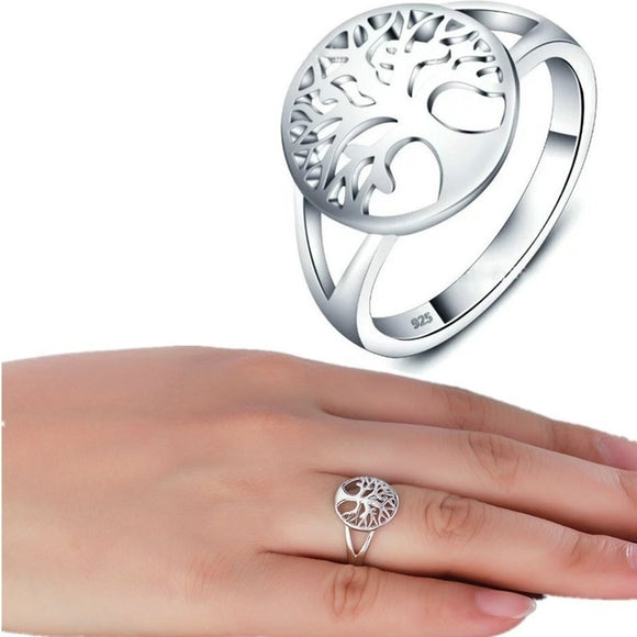 High Quality New Jewelry Sterling Silver Ring Lucky Tree silver plated  Ring (1 PC) US Size 5-9