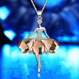 Silver Lovely Gemstone Dancing Girl Pendant Women's Fashion (color;blue/purple/tan)
