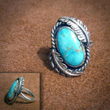925 Sterling Silver Turquoise Leaf Floral Anniversary Engagement Wedding Ring - The Rogue's Clothes