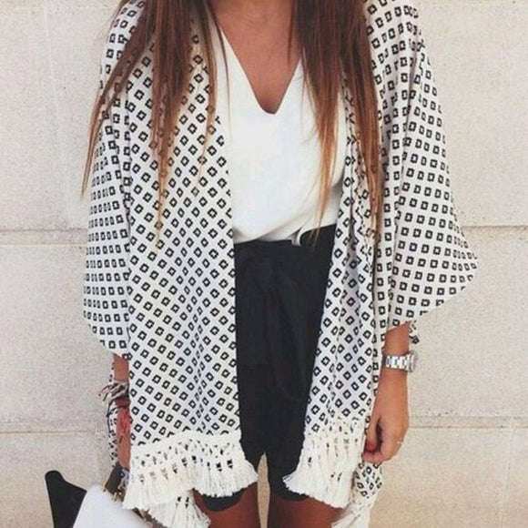 Fashion Women Blouse Geometry Printed Summer Chiffon Coat Shawl Kimono Cardigan
