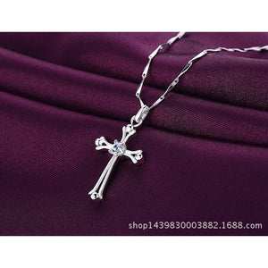 Fashion Silver Cross-shaped Pendent Women Necklace O-chain Jewelry