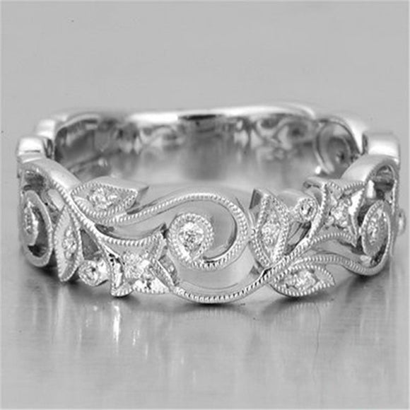 Exquisite Charm Women's Silver Floral Ring Synthetic Diamond Flower Lucky Vine Leaf Cocktail Jewelry Proposal Gift