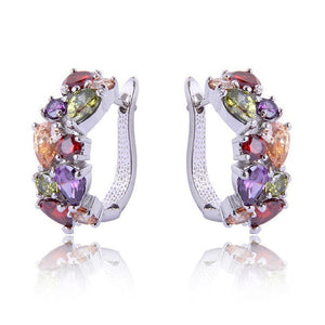 Jewelry Colorful Synthetic Amethyst & Ruby Women's silver  Hoop Earrings