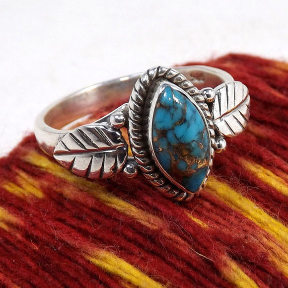 Unique Silver Ring Marquise Cut Retro Crack Turquoise Leaf Jewelry Birthday Proposal Christmas Gift Engagement Hall