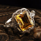2.8CT Synthetic Citrine Silver Ring Gifts - The Rogue's Clothes