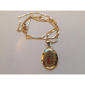 14K Gold Our Lady of Guadalupe Necklace and Pendant Brand New - The Rogue's Clothes