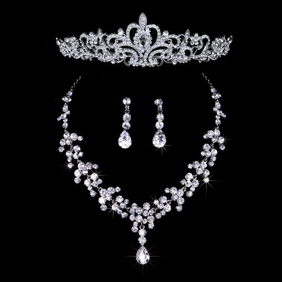 Wedding Party Bridal Bridesmaid Flower Crown Tiara+Necklace Earring Set
