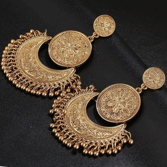 Retro Style Flowers Moon Tassel Goldplated Silver Earring Trendy Vintage Popular Classics Geometric Double Round Alloy Earrings