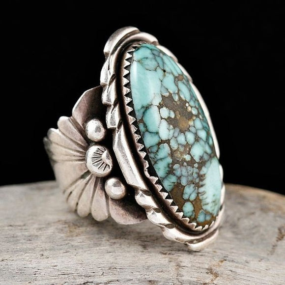 925 Sterling Silver Turquoise Gemstone Floral Flower Anniversary Wedding Engagement Ring - The Rogue's Clothes