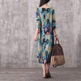 ZANZEA Autumn Women Long Sleeve Oversized Retro Floral Print Kaftan Long Dress