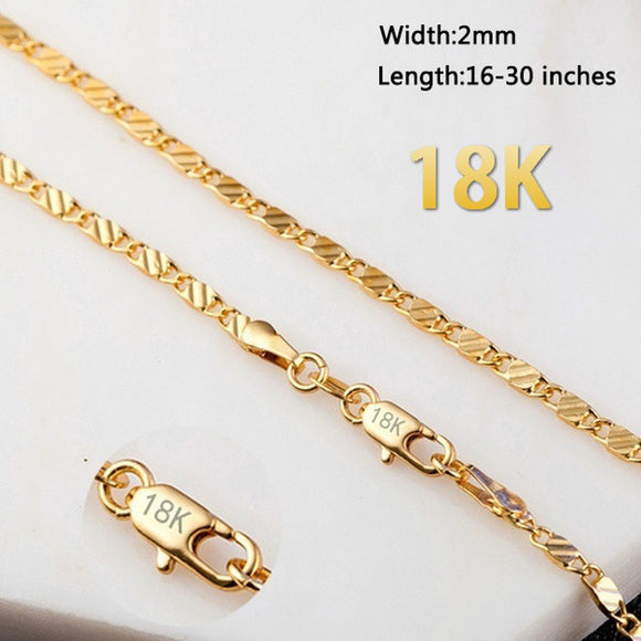 16-30 inches European Fashion Luxury Men Women Fashion 18k Gold Plated Chain Necklace Bride Wedding Engagement Fine Jewelry - The Rogue's Clothes