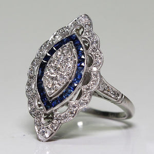 Antique Style Art Deco Large 925 Filigree Victorian Jewelry Sterling Silver Imitation Blue Sapphire & Diamond Ring Bride Wedding - The Rogue's Clothes