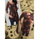 Womens Fashion Plus Size Empire Waist Paisley Floral Vintage Printed 3/4 Sleeve Flared Tunic Dress Tops