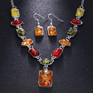 Newest Women's Silver Plated Amber Party Jewelry Sets Chain Necklace Earrings Sets