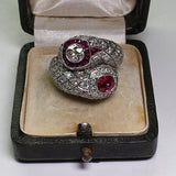 Antique Style Art Deco Silver Imitation Ruby & Whiite Sapphire Ring Size 6 7 8 9 10 - The Rogue's Clothes