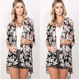 Retro Women Floral Chiffon Fringe Loose Blouse Kimono Jacket Cardigan Top Casual