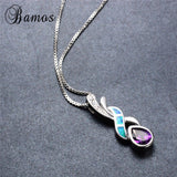 Bamas Beautiful Amethyst & Blue Fire Opal 925 Sterling Silver Pendant Necklace Box Chain Women Fashion Jewelry Gifts (Color:Blue - The Rogue's Clothes
