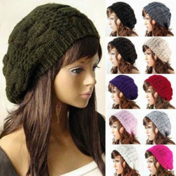 Fashion Warm Winter Knit Crochet Beret Braided Baggy Women Lady Beanie Ski Hat Cap