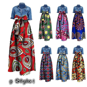 Womens African Print Dashiki Dress Ladies Plus Size Long Maxi Fashion A Line Skirt Ball Gown