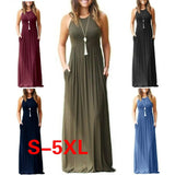 9 Colors Sleeveless Fashion Women Summer Long Halter Long Strapless Dress Casual Beach Maxi Dress S-5XL - The Rogue's Clothes