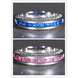 Woman Fashion Jewelry 925 Silver Ring Pink/Blue Sapphire Man Wedding Ring Size 6-10