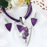 Triangle Pendants Jewelry Sets Women Clean Fresh Style Purple Chain Collar Necklace and Earrings Sets