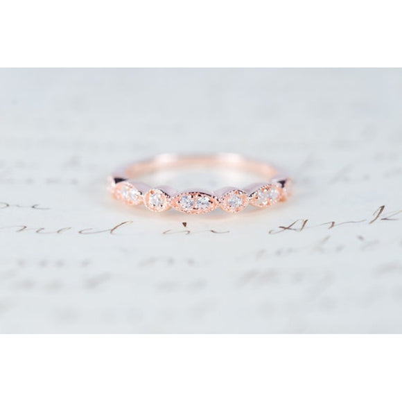 Exquisite Rose Gold Gift Ring Synthetic White Sapphire Diamond Jewelry Elegant Single Ribbon Silver Gold Anniversary Engagement