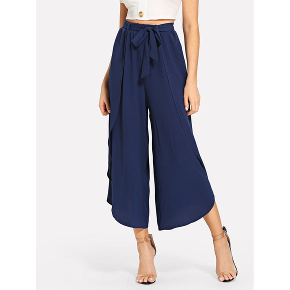 Ruffle Trim Wide Leg Pants