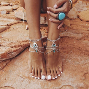 2016 Vintage Antique Silver Anklet Women Turquoise Beads Bohemian Ankle Bracelet Tornozeleira Chaine Cheville Boho Foot Jewelry - The Rogue's Clothes