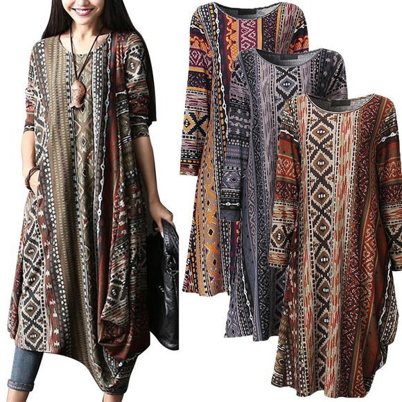 S-5XL Women Boho Floral Casual Baggy Long Sleeve Top Shirt Dress Kaftan