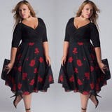 Women Plus Size Sexy V-Neck Floral Maxi Evening Party Boho Beach Dress Perfect Present